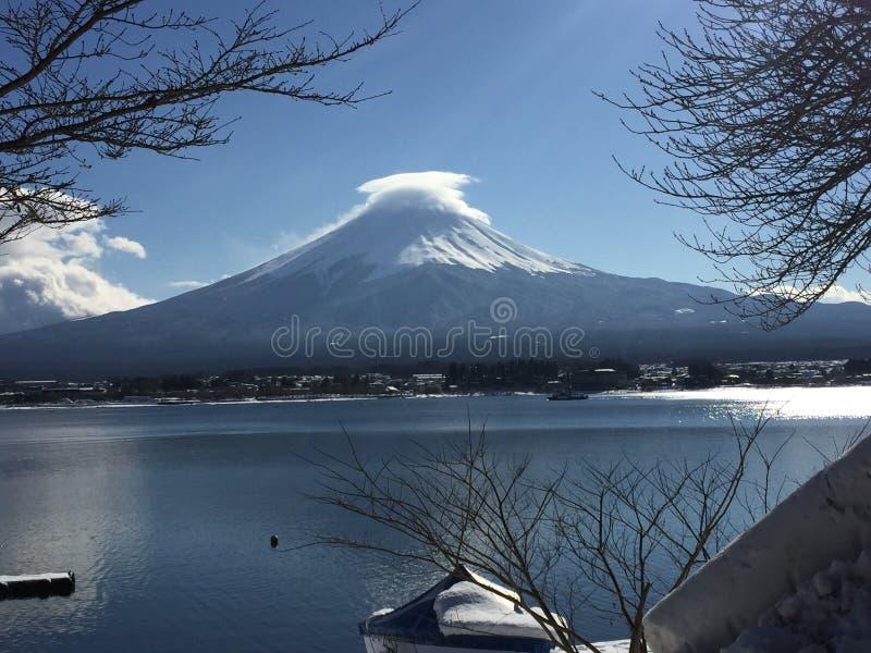 Fujisan in de winter stock fotografie
