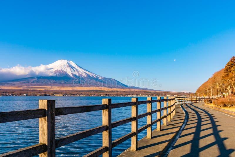 Fujisan or Fuji mountain in sunrise light at lake Yamanaka, Yamanashi prefecture Japan.  stock photo