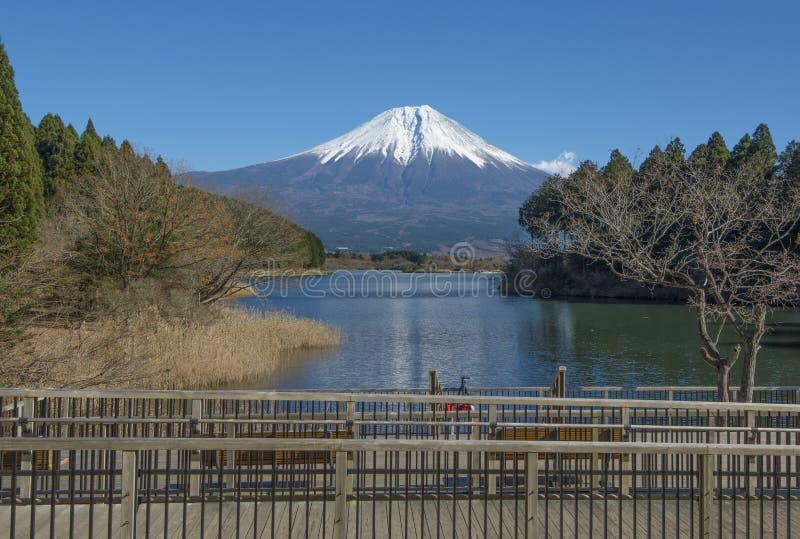 Fujisan at Lake Tanuki. In autumn season royalty free stock images