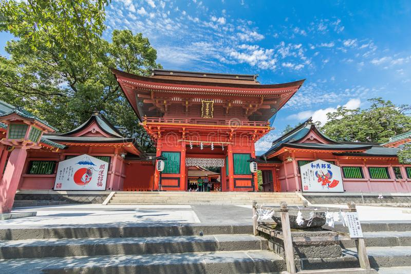 Fujisan Sengen寺庙是一个最大和最盛大的寺庙 免版税库存图片