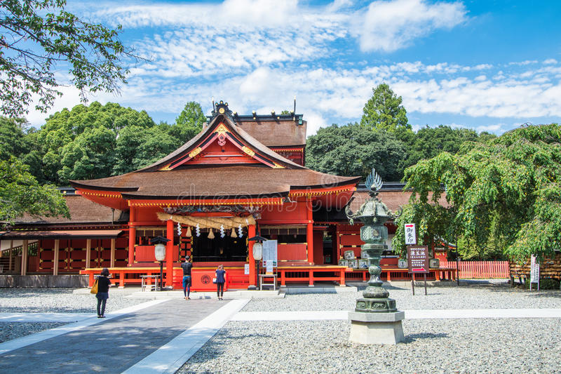 Fujisan Sengen Shrine ,japan. Shizuoka Prefecture ,Japan - August 19, 2017:Fujisan Sengen Shrine was one of the largest and grandest shrines in the city of stock images