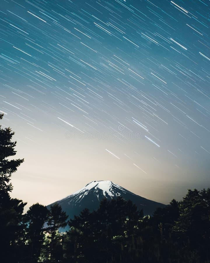 Fujisan star trails stock photo