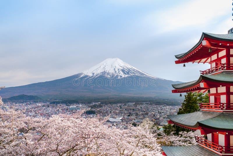 Fujiyoshida-landmärket Japan Chureito res Pagoda på Fuji-bergens bakgrund,Red Pagoda under vårsäsongen med sakuratstress full b royaltyfri foto