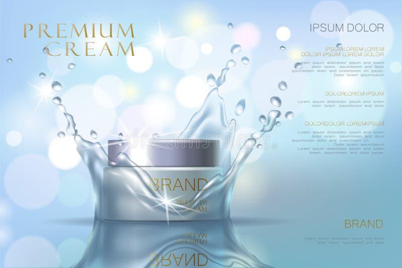 Fukta den kosmetiska annonsmallen för effekt Droppe 3d för Aquavattenfärgstänk specificerade den realistiska illustrationen Främj vektor illustrationer