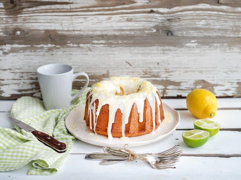 Fuktig limefrukt- och citronbundtyoghurt bakar ihop, vit royaltyfri bild