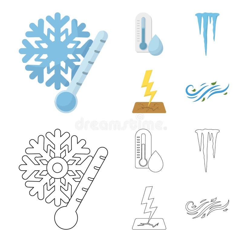 Fuktighet istappar, åskvigg, blåsväder Rida ut fastställda samlingssymboler i tecknade filmen, materiel för symbol för översiktss vektor illustrationer