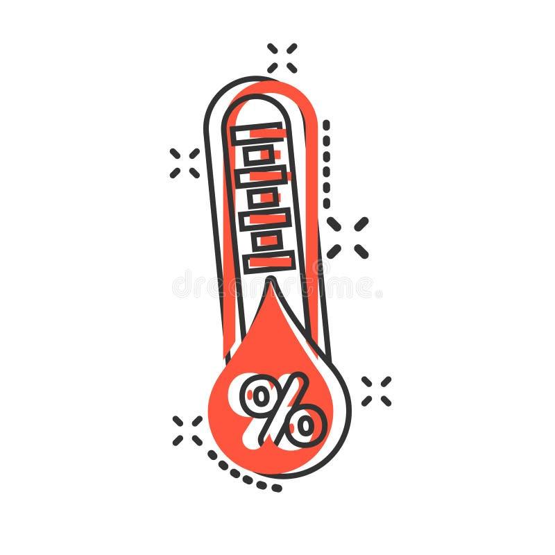 Fuktighetssymbol i komisk stil Illustration för klimatvektortecknad film på vit isolerad bakgrund Temperaturprognosaff?r royaltyfri illustrationer