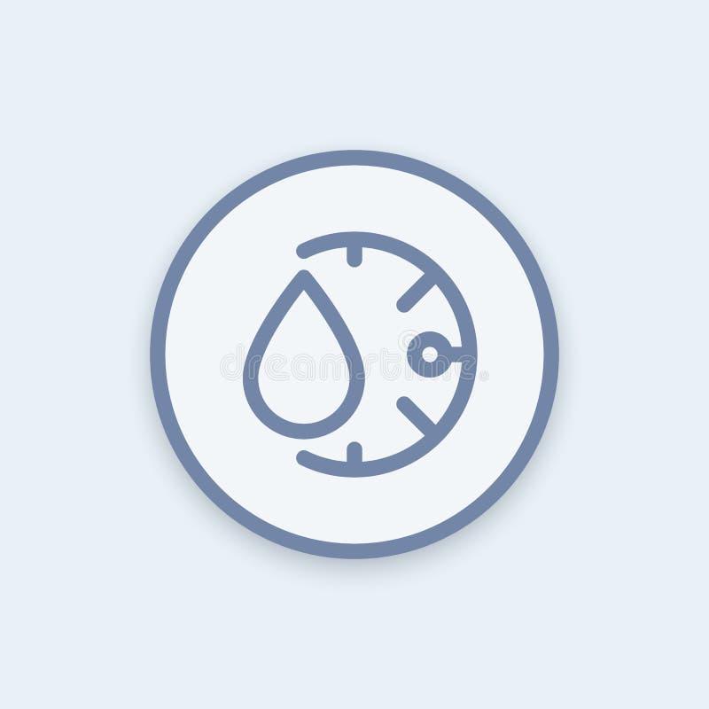 Fuktighetssymbol i linjär stil, rund pictogram vektor illustrationer