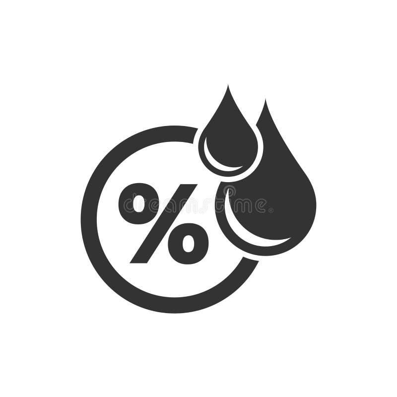 Fuktighetssymbol i plan stil Klimatvektorillustration på vit isolerad bakgrund Temperaturprognosaffärsidé vektor illustrationer