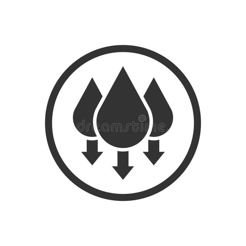 Fuktighetssymbol i plan stil Klimatvektorillustration på vit isolerad bakgrund Temperaturprognosaffärsidé royaltyfri illustrationer