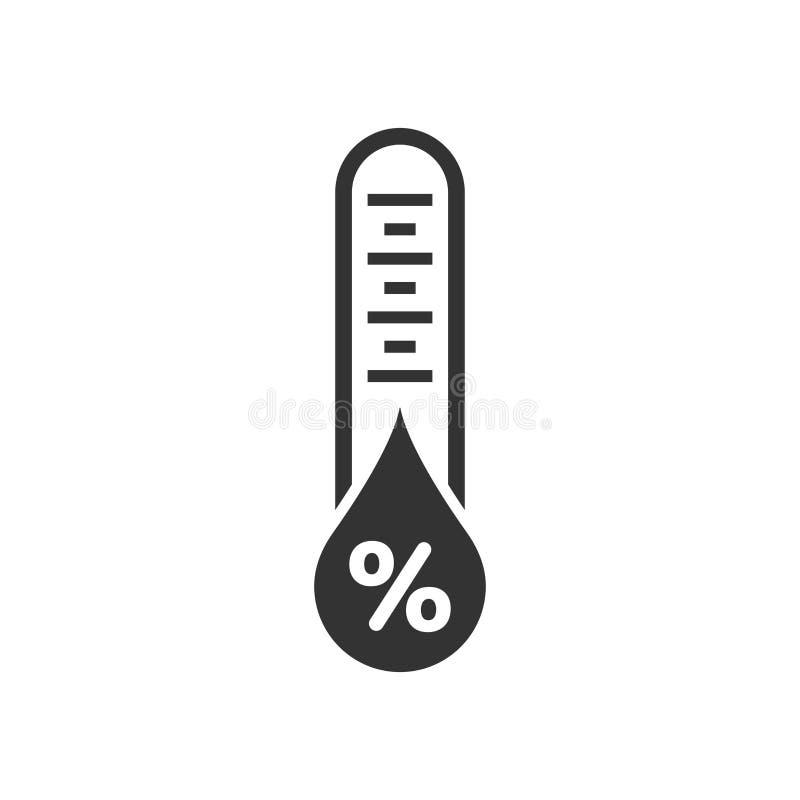 Fuktighetssymbol i plan stil Klimatvektorillustration på vit isolerad bakgrund Temperaturprognosaffärsidé stock illustrationer