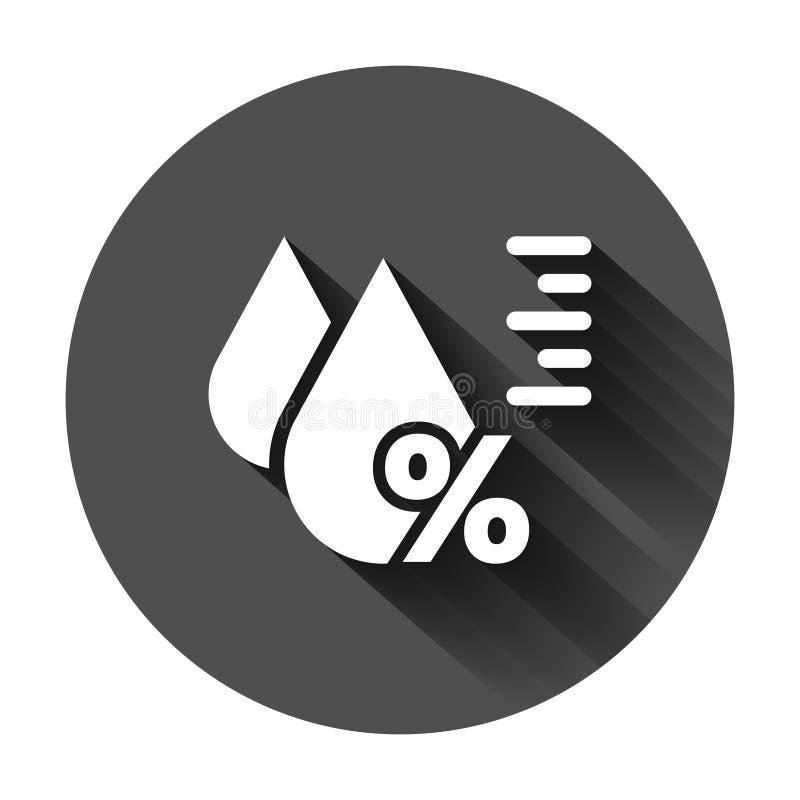 Fuktighetssymbol i plan stil Klimatvektorillustration p? svart rund bakgrund med l?ng skugga Temperaturprognosaff?r vektor illustrationer