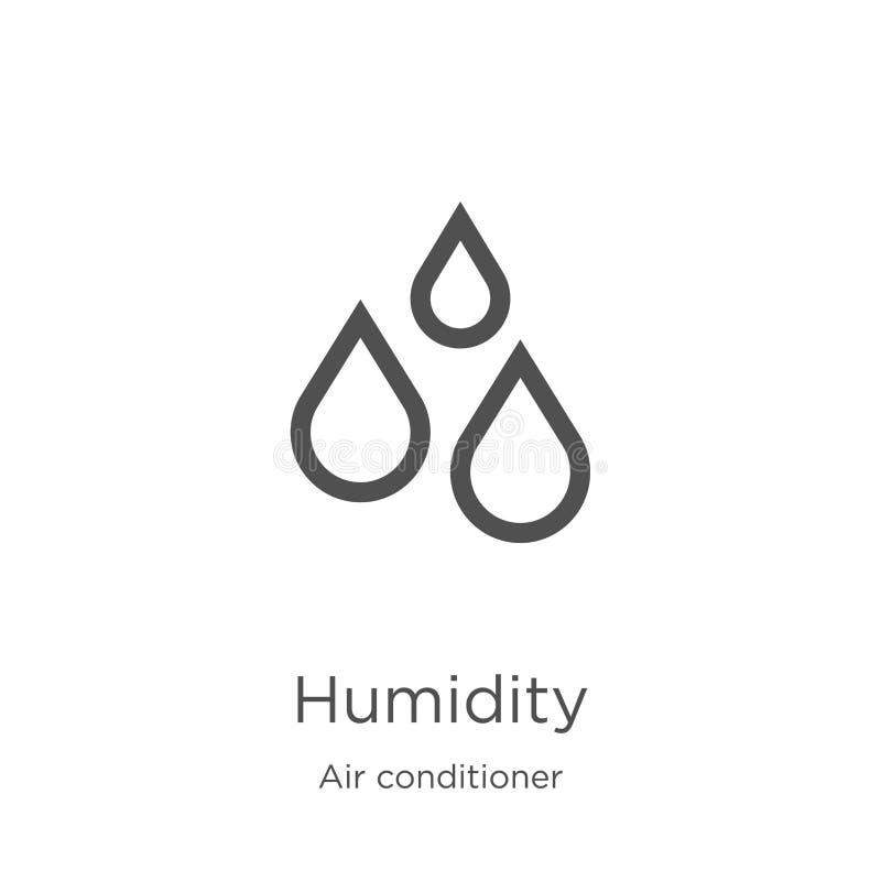 fuktighetssymbolsvektor från luftkonditioneringsapparatsamling Tunn linje illustration f?r vektor f?r fuktighets?versiktssymbol ? royaltyfri illustrationer