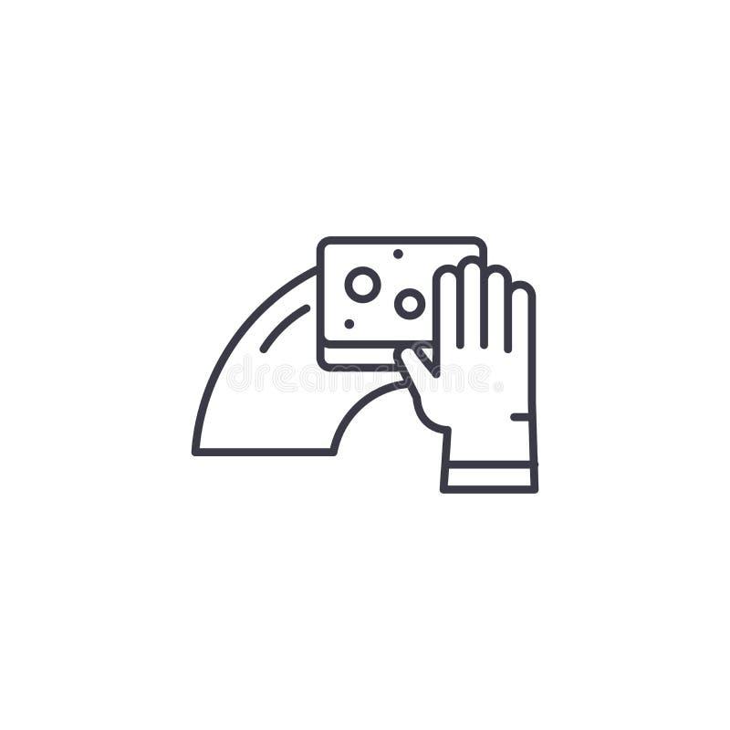 Fuktigt moppa linjärt symbolsbegrepp Fuktig moppa linje vektortecken, symbol, illustration vektor illustrationer