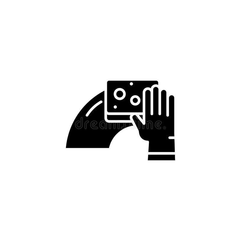Fuktigt moppa svart symbolsbegrepp Fuktigt moppa plant vektorsymbol, tecken, illustration royaltyfri illustrationer