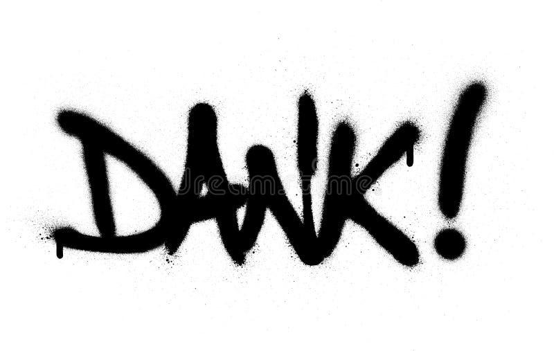 Fuktigt ord för grafitti som besprutas i svart över vit stock illustrationer