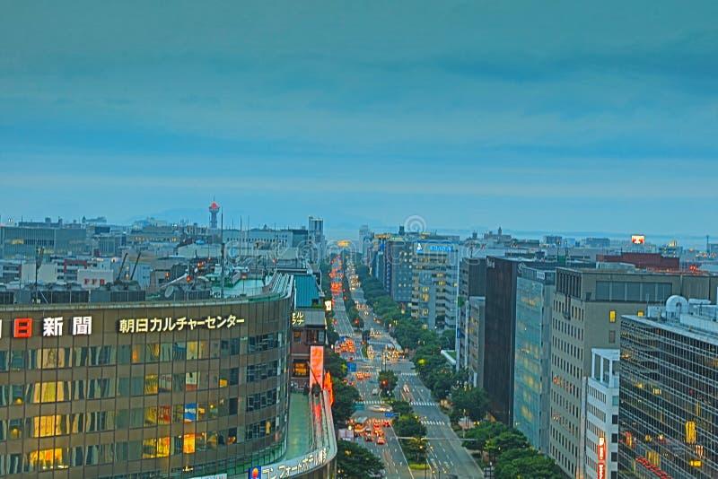 Fukuoka es la ciudad más grande de Kyushu imagen de archivo