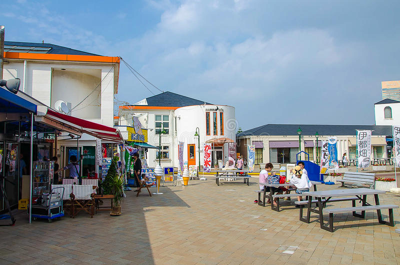 Fukuoka, Japan - June 30, 2014:Marizon is a wharf complex, including restaurants and souvenir shops stock photography