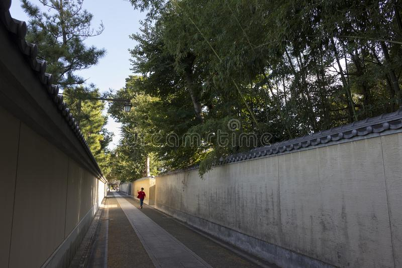 Walled path throught the Shofukuji temple with large bamboo behind it stock images