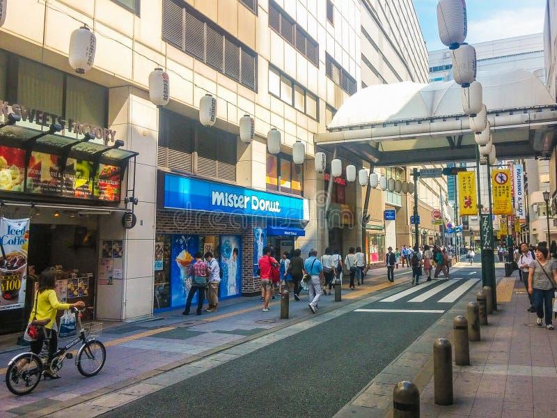 Fukuoka, Japon - 29 juin 2014 : Rue de Tenjin à Fukuoka, Japon images libres de droits