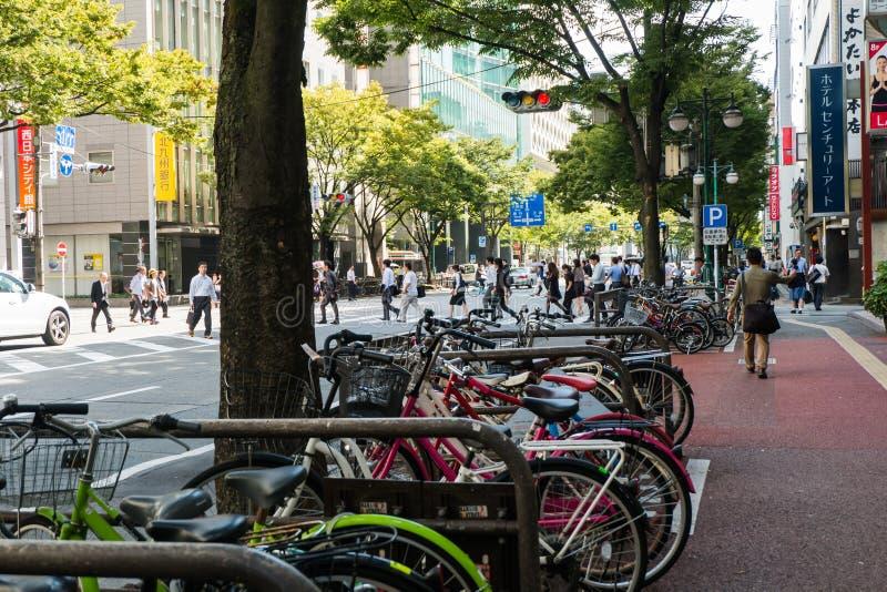 FUKUOKA, JAPON - 26 SEPTEMBRE 2014 : Rue près de St de train de Hakata images libres de droits