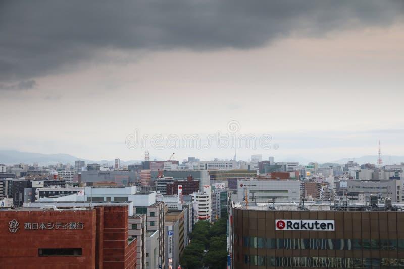 Fukuoka la ciudad más grande de Kyushu 2016 foto de archivo