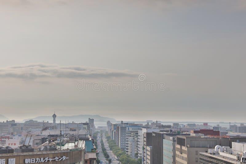 Fukuoka la ciudad más grande de Kyushu 2016 fotografía de archivo libre de regalías