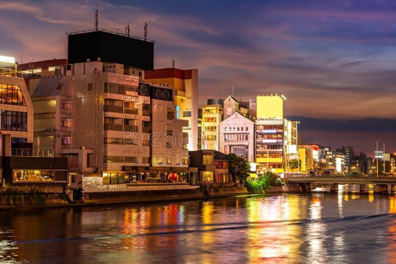 Fukuoka Naka River sunset Yatai Food stall stock images