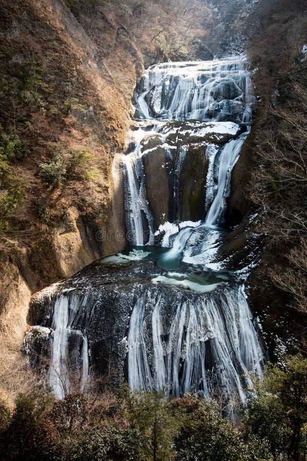 Fukuroda nedgångar är isvattenfallet i vintersäsongen, Ibaraki prefe arkivfoton
