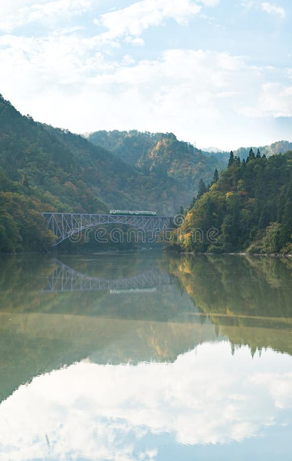 Fukushima First Bridge Tadami River Japan stock photography