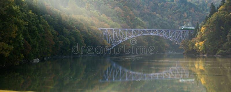 Fukushima First Bridge Tadami River Japan royalty free stock photography