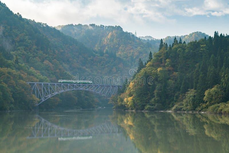 Fukushima First Bridge Tadami River Japan royalty free stock photo