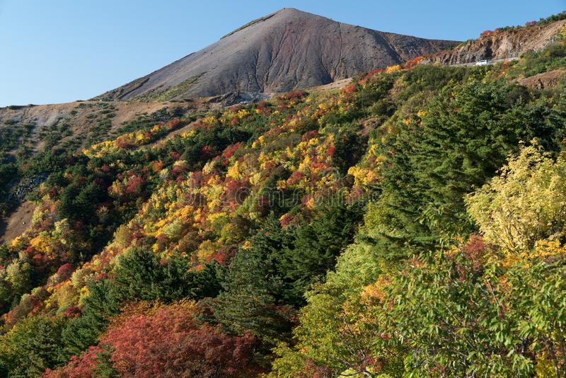 Fukushima Mountain bandai Autumn Fall royaltyfria foton