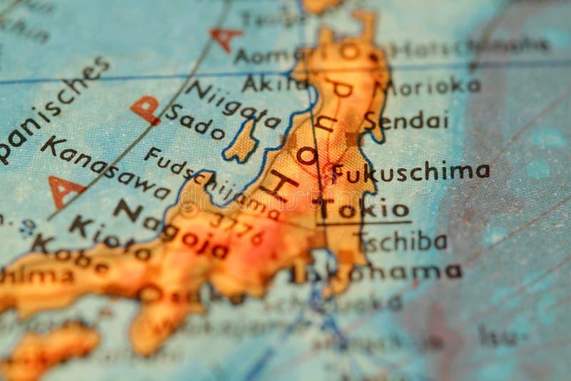 Fukushima op een bol stock foto