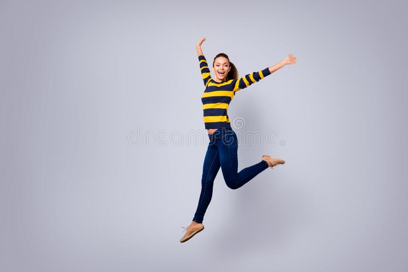 Ful length body size view photo cute charming nice lady content candid satisfied millennial hands laugh laughter weekend stock images