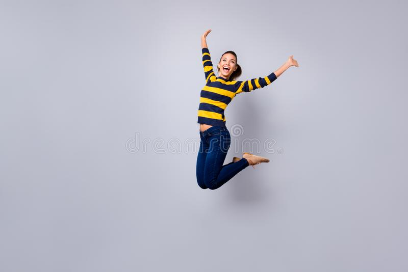 Ful length body size view photo cute sweet lovely nice lady content candid satisfied teen teenager laugh laughter. Weekend scream shout isolated jeans striped royalty free stock images