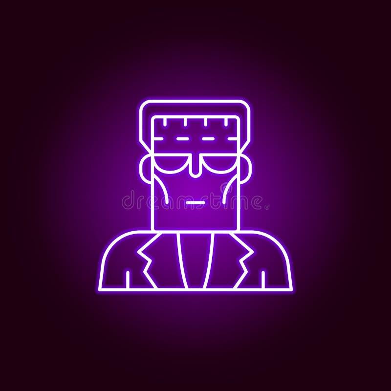 Ful mansymbol Best?ndsdelar av vetenskapsillustrationen i den violetta neonstilsymbolen r royaltyfri illustrationer