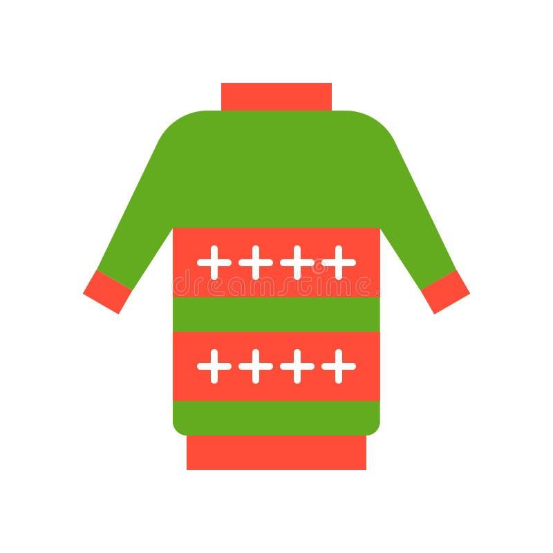 Ful tröja, symbolsuppsättning för glad jul, plan designPIXELperfec vektor illustrationer