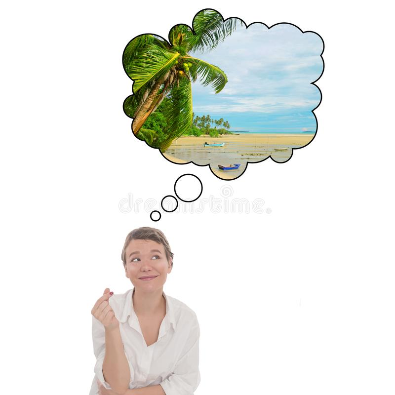 Fulfillment of desires at the click of figers. Young women dreams about tropical vacation. Touristic speech bubble. stock photos