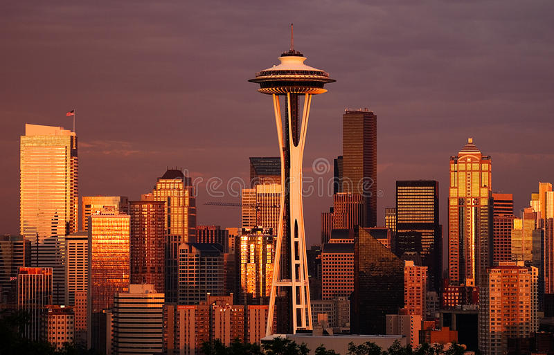Fulgor atrasado, Seattle imagens de stock