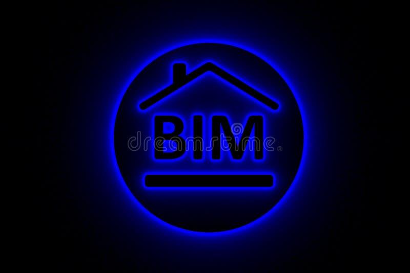 Fulgor de néon do conceito de BIM ilustração do vetor