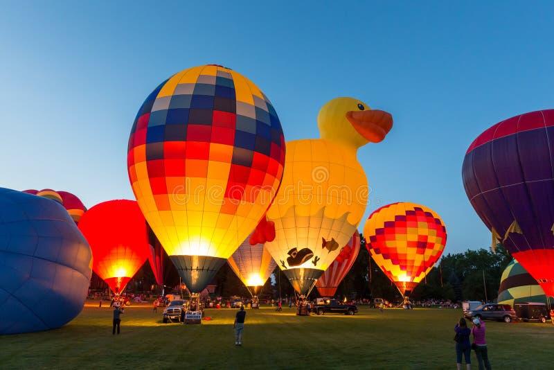Fulgor do balão de ar quente imagens de stock