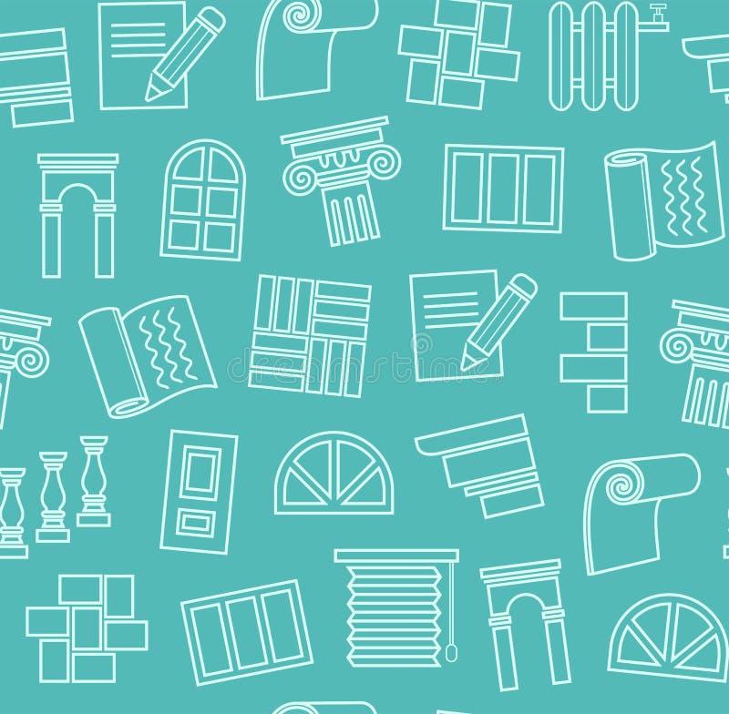 Fulländande material, konstruktion, sömlös modell, översiktsteckning, blått-gräsplan, färg, vektor royaltyfri illustrationer