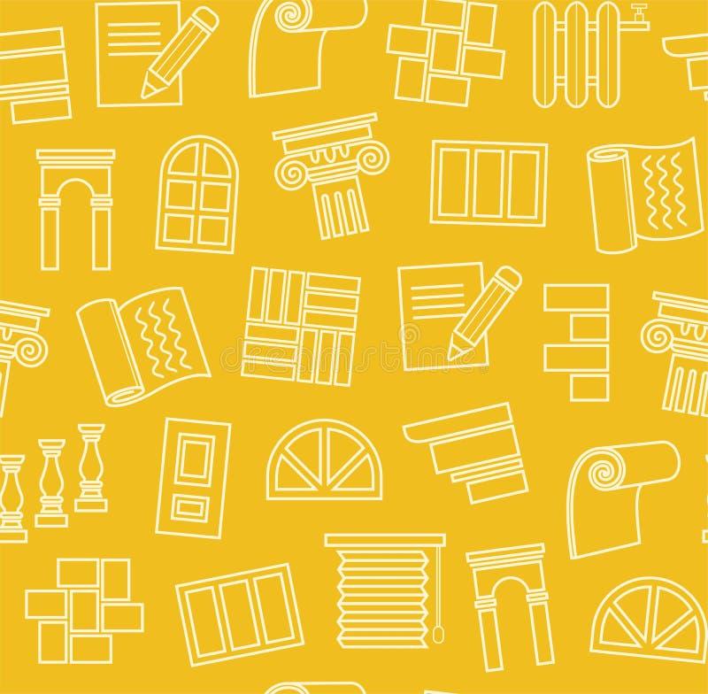 Fulländande material, konstruktion, sömlös modell, översiktsteckning, guling, färg, vektor stock illustrationer