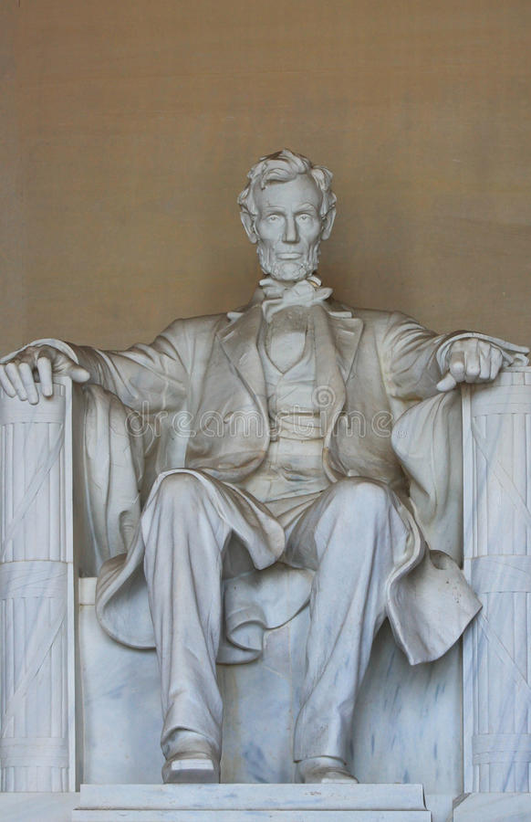 Full Abe in memorial. Full Abe Lincoln inside the Lincoln Memorial royalty free stock image