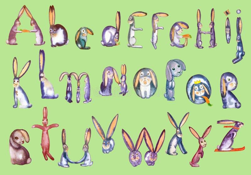 Full alphabet hares on green stock illustration