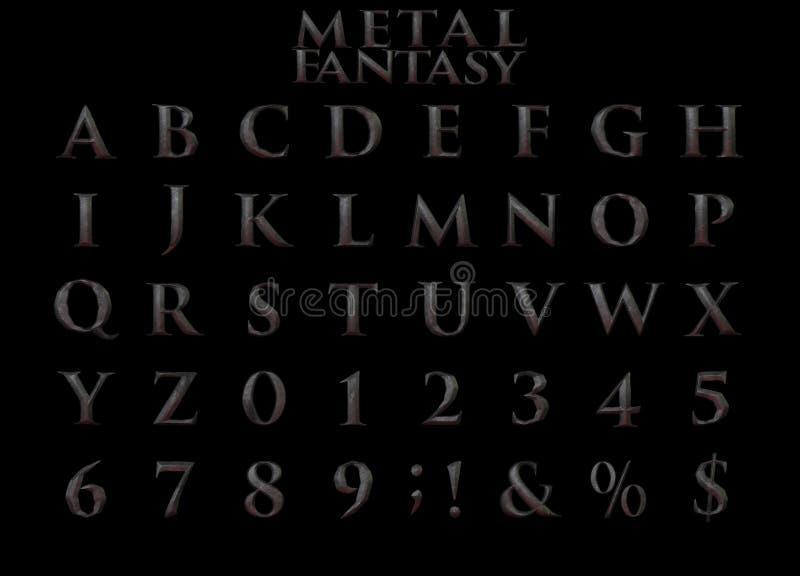 Fantasy Heavy Metal Alphabet - 3D Illustration. stock illustration