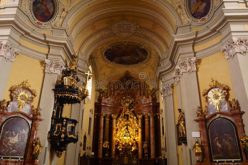 Grand Old Historic Churches in Linz, Austria. Full of Architecture everywhere you look in these old grand churches that are still being used today royalty free stock photo