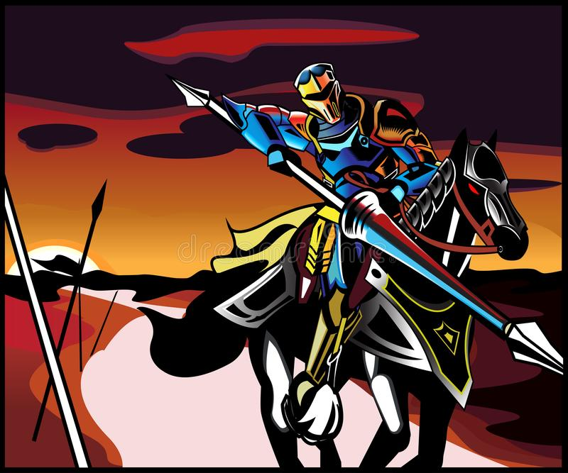 Full armored horseman rides to battle stock photos
