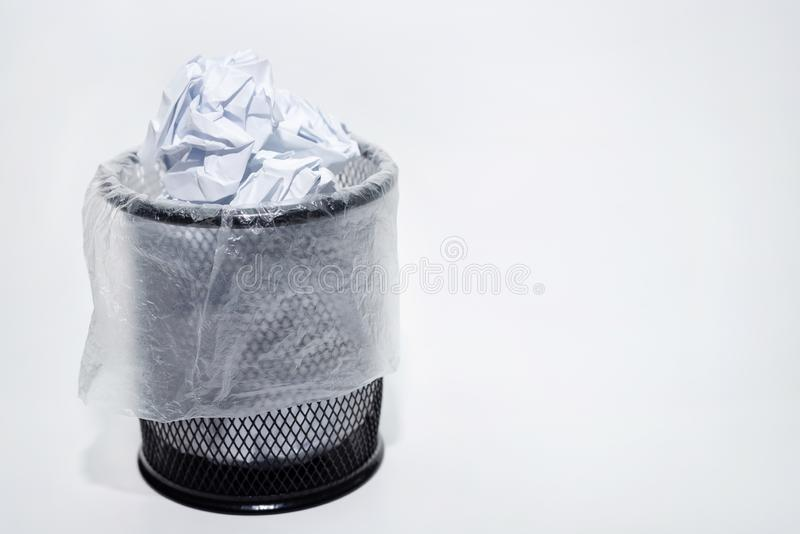 Full basket on a white background. A glass for pens, stationery, garbage, isolated, pencil, office, holder, container, work, design, school, metal, equipment royalty free stock photography